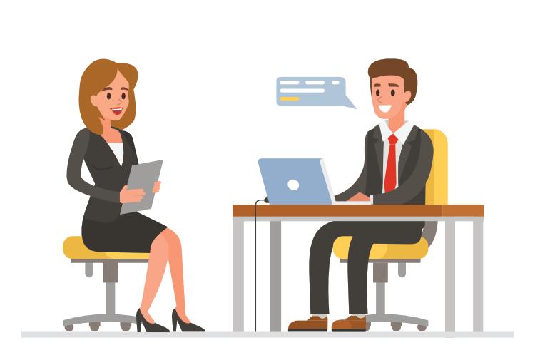 Jobbintervjusituasjon med en mann og en dame