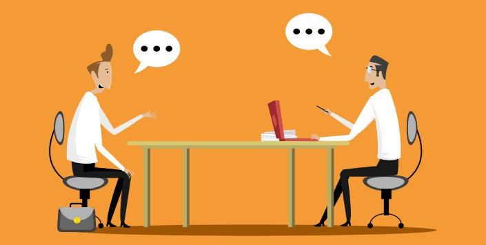 Jobbintervju med to personer