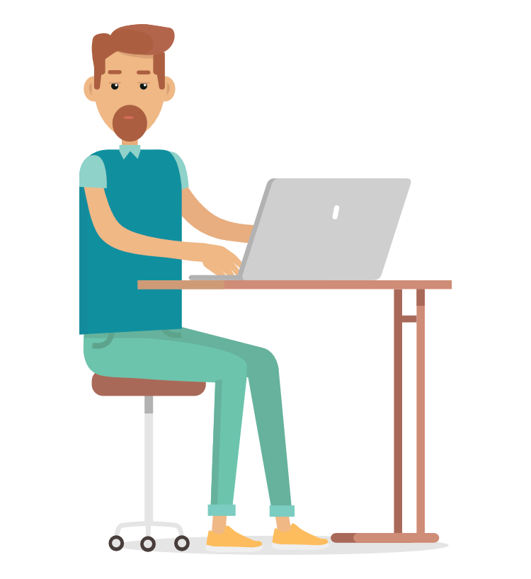 Mann med laptop ser inn i kamera